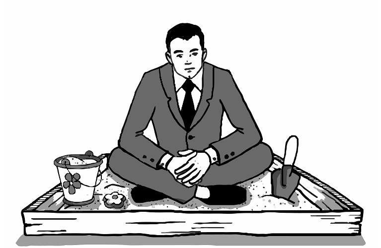 Illustration of businessman sitting in sandbox